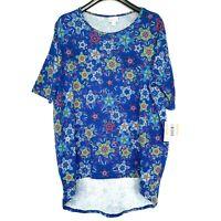 NWT Lularoe Irma Tunic Top Shirt Size Medium Blue Multicolor Print  Hi-Lo Hem