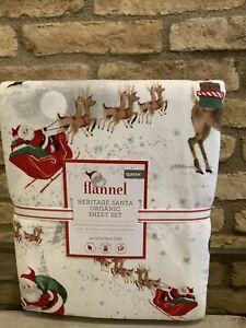 Pottery Barn Kids Heritage Santa Organic Flannel Queen Sheet Set Christmas New
