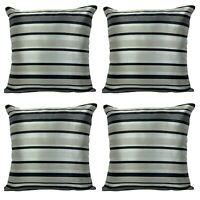 "SET OF 4 - Silver / Black Stripe Cushion Covers 18x18"""