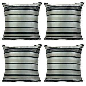 SET OF 4 - Silver / Black Stripe Cushion Covers 18x18""