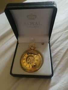 Royal London gold plated 1/2 Hunter pocket watch