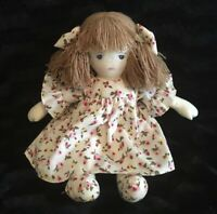 Pier 1 Imports Cloth Doll Baby Plush Blue Yes Brown Hair Floral Rag Doll Pink