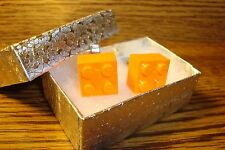 ORANGE LEGO Block Design Cuff links 1 Pair (Two) Hamilton Silver Plated  $2.50