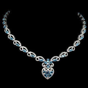 Oval Swiss Blue Topaz Cz 14K White Gold Plate 925 Sterling Silver Necklace 18inc
