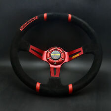 350mm Suede Leather 89mm Deep Dish Drifting Steering Wheel For OMP Hub Red Spoke