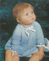 """Vintage Knitting Pattern Baby Dress in 4 Ply 19""""- 20"""" Chest, Pattern number 284"""