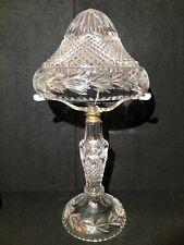 Vintage Nouveau Glass Deep Cut Crystal Table Lamp c/w Mushroom Shade - Electric