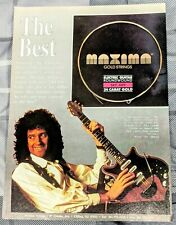 Queen / Brian May / 1991 Maxima Guitar Strings Magazine Print Ad + Dvd