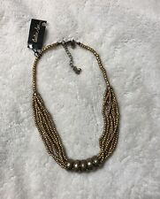 "Cookie Lee Gold Beaded Necklace - NEW - 15 - 18"" In Length"