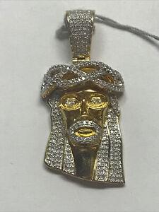 Jesus 10K Yellow Gold & Diamond Pendant NEW