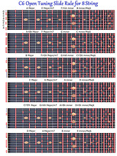 C6TH TUNING SLIDE RULE CHART FOR 8 STRING STEEL GUITAR - LAP PEDAL STEEL GUITAR