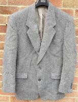 NINO CERUTTI Grey Tweed Blazer Jacket 42 R Herringbone Single Breasted Made USA