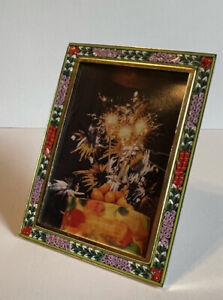 Vintage ITALIAN MICRO MOSAIC Rectangle Floral Picture Frame