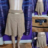 Women's LAURA ASHLEY Short A-line Wool Skirt Size 8 Tan Brown & Pockets Immacula
