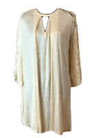 Women's umgee NWT Cream Ivory Lace Bell Sleeves Key Hole Tunic Top Sz M Boho