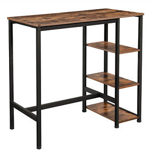 VASAGLE Bar Table, Kitchen Table, Dining Table with 3 Shelves, Stable Steel for
