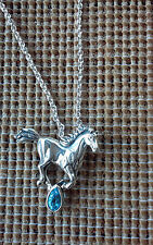 92.5 Ster Silv Birthstone Blue Topaz Chain Horse Pendant Necklace Kabana USA