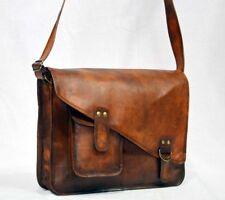 Men's Leather Vintage Shoulder Purse Large Tote Brown Satchel Handbag Women Bag