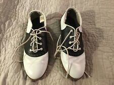 VINTAGE PREDICTIONS SADDLE SHOES BLACK OR NAVY BLUE AND WHITE SIZE 10