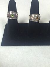 rings size 6 1/2 2 Emerald And Amber Tone Stoned 010B+