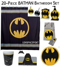 20-pc BATMAN Complete BATH SET Shower Curtain+Hooks+Rug+Hooded Towel BAT SIGNAL