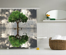 Green Gray White Photo Self Reflection Tree Fabric Shower Curtain