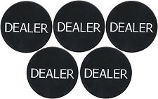 "New 5 Black 2"" Dealer Buttons Texas Holdem Poker Casino Style Tournaments *"