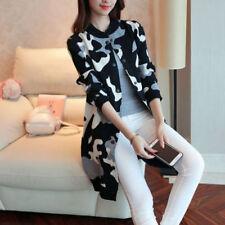 Womens Korean Vogue Loose Camouflage Knitting Cardigan Coat New White US S Ske15