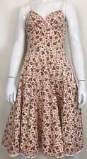 Betsey Johnson New York Floral Print Fit & Flare Cotton Sundress Sz 4 XS Pink