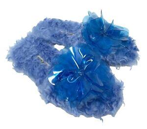 miu miu Fur Flower Vinyl Corsage Slide Sandals Flats #35 US 5 Blue RankAB+