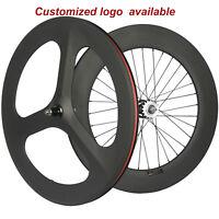 700C Carbon Wheelset Front 70 Tri Spoke Rear 88mm Track Wheel Clincher Fixe gear