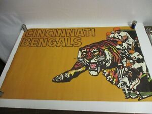 Vintage 1970 NFL Cincinnati Bengals Football Poster with Bengal Tiger Rare 36x24