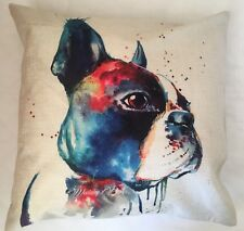 French Bull Dog / Bull Breed - Watercolour Cushion Cover Linen Gift Home Decor