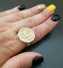 New Solid Yellow Gold 14k Egypt Eye of Horus Ring Size 7-8 Adjustable