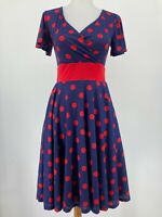 Fervour ModCloth Dress Short Sleeve Navy Red Polka Dot V Neck Pockets Size XS
