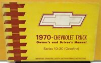 1970 Chevrolet Truck Owners Manual Original Series 10-30 CK Gas Engine Care & Op