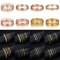 Fashion Women 4/6Pcs Gold Rose Gold Cuff Bracelets Set Charm Bangle Jewelry Gift