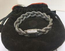 "John Hardy Classic Woven Braided  Bracelet Large 7.75"" Sterling Silver 14mm 60g"
