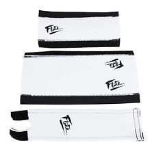 FLITE NEO mid school BMX neoprene foam padset pads WHITE W/ BLACK 80's LOGO