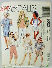 McCalls 3620 Sewing Pattern Girls Shirt Top Pants Shorts Skirt Wardrobe Large