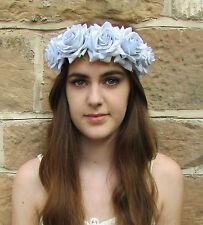 Large Light Grey Blue Rose Flower Hair Crown Garland Boho Headband Festival Z95