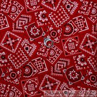 BonEful Fabric FQ Cotton Quilt Red White Black B&W Bandana CowBoy Girl VTG Retro