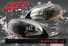 96-98 Honda Civic EK JDM Black Headlights w/Amber Refector SI EX SiR LX DX HX HB