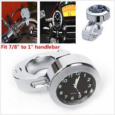 "Waterproof 7/8"" 1"" Motorcycle Accessory Handlebar Mount Clock Watch Black Dial"