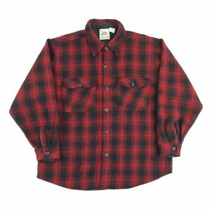 Vintage Heavy Wool Shirt Check Red L Long Sleeve