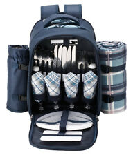 VonShef 4 Person Deluxe Picnic Backpack Hamper with Cooler Compartment