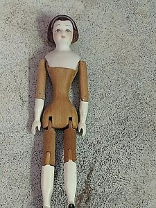 "GORGEOUS VTG WOOD & BISQUE JTD  4 1/4"" SIGNED J.J. S. SMITH  LADY DOLLHOUSE DOLL"
