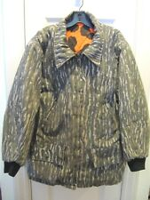 MENS HUNTING COAT SIZE MEDIUM REVERSIBLE BLAZE ORANGE CAMO WATERPROOF COATED