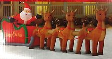 New 16 Ft Santa And Sleigh Lighted Inflatable Merry Christmas Reindeer Giant