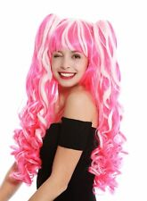 Wig 3 Pieces Braids Removable Women's Wig Cosplay Long Curly White Pink Mix